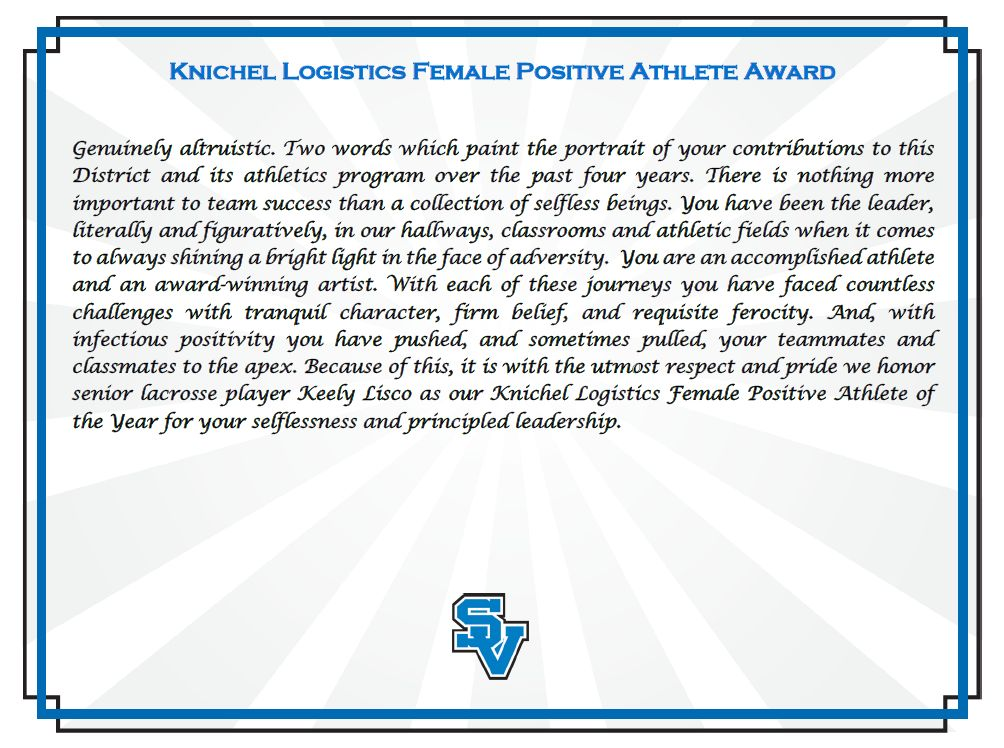 Positive Athlete Keely Lisco Certificate