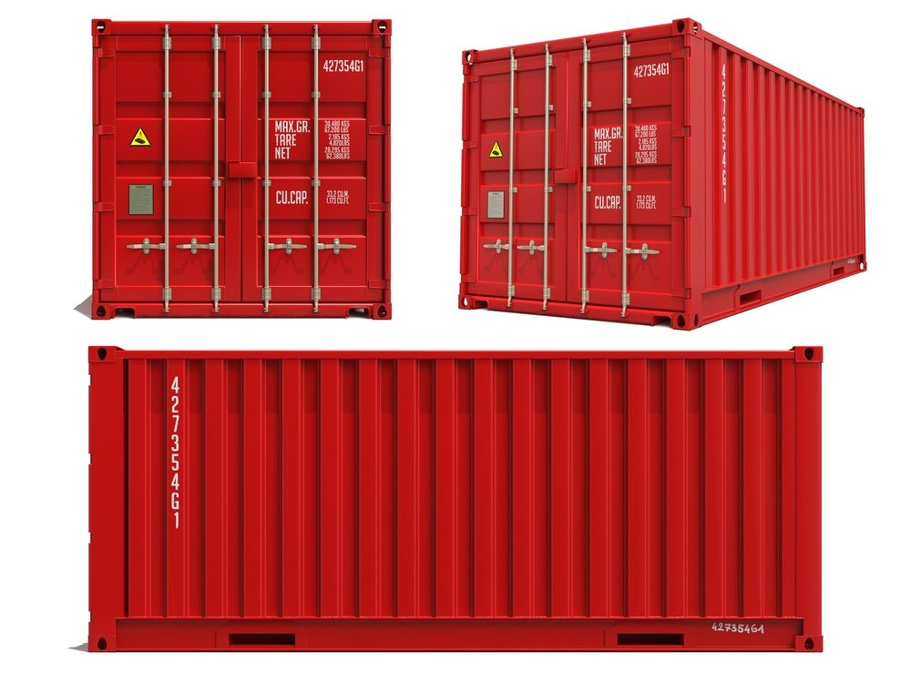 Red Container in Three Dimensions Isolated on White Background.