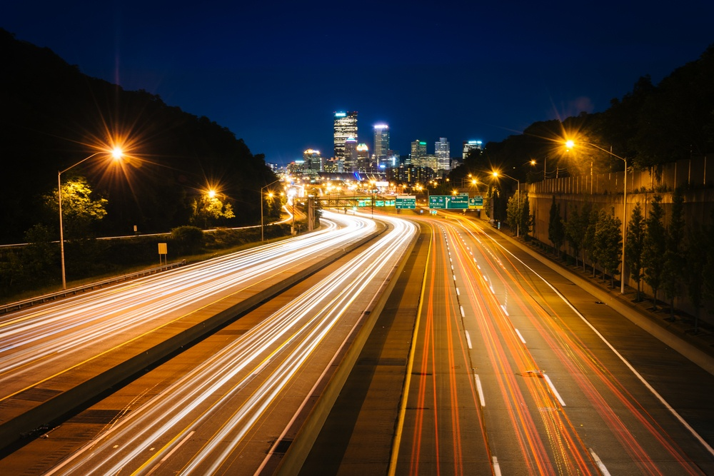 The Pittsburgh skyline and I-279 at night, in Pittsburgh, Pennsylvania..jpeg