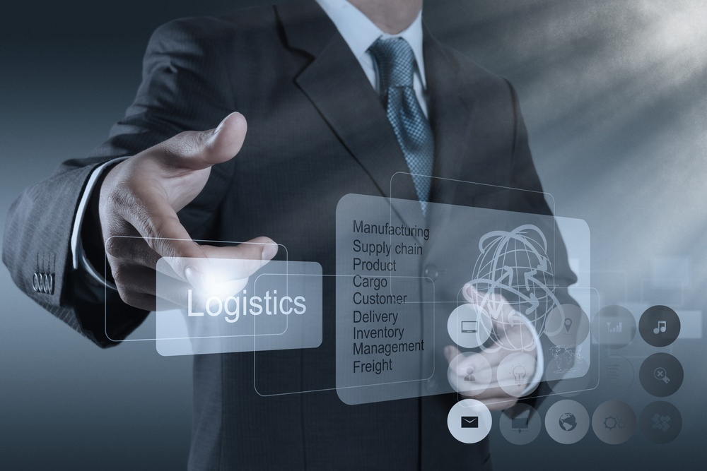 businessman hand shows logistics diagram as concept
