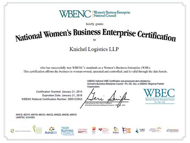 Knichel Logistics A Woman Owned Small Business